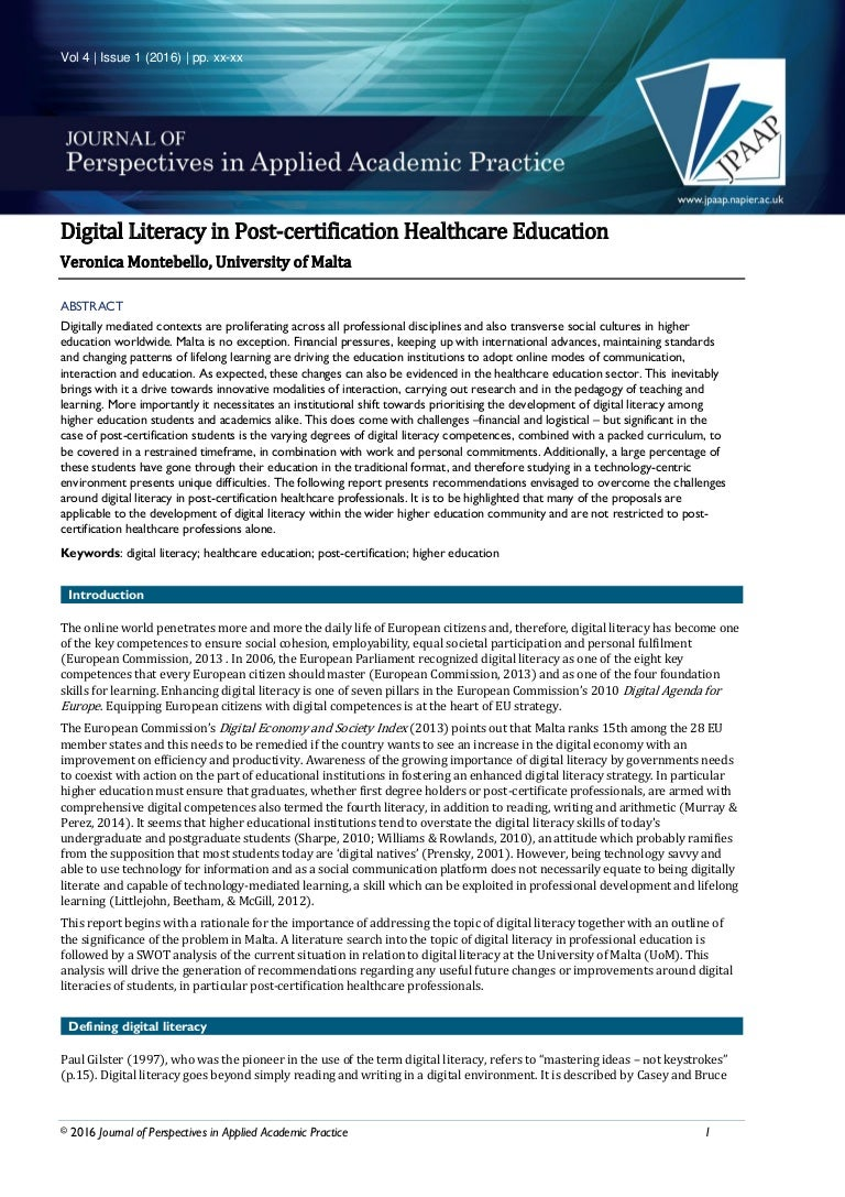 Digital literacy in post certification health care education 1betcityfo Image collections