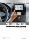 Automobile UX: Emerging Infotainment Systems and In-Car Apps From a User Experience Perspective