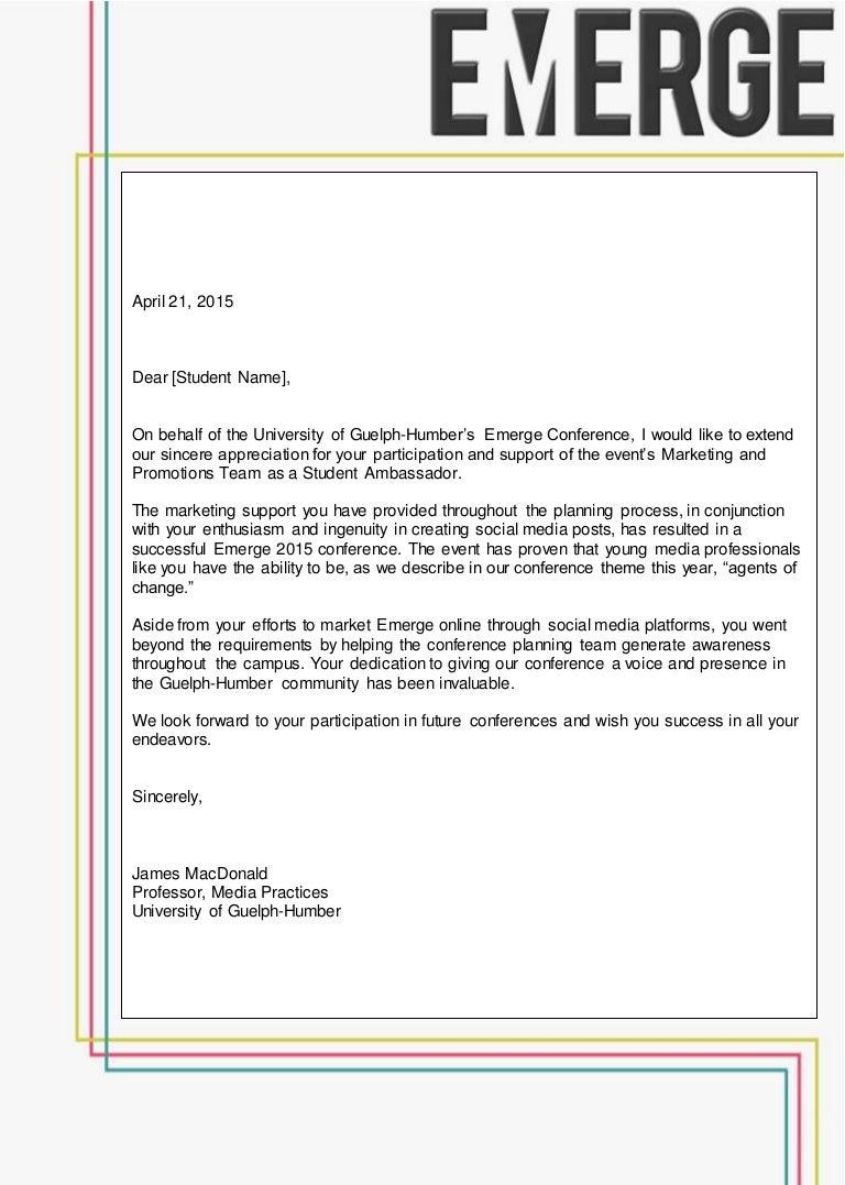 Emerge Student Ambassador Letter