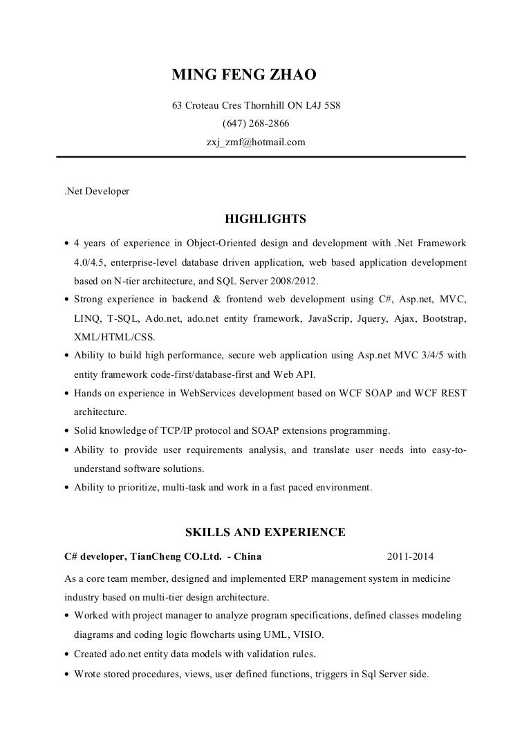 net developer resume ming zhao