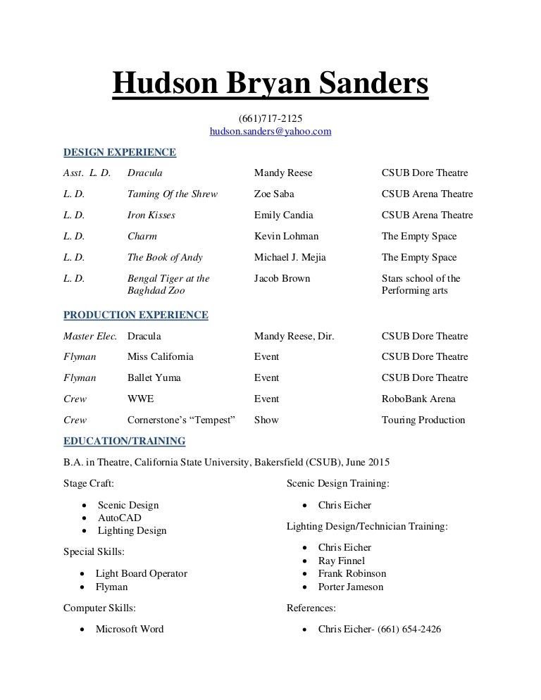hudson technical  design resume