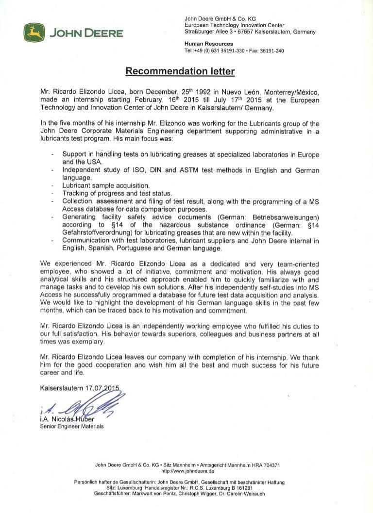 Recommendation Letter John Deere