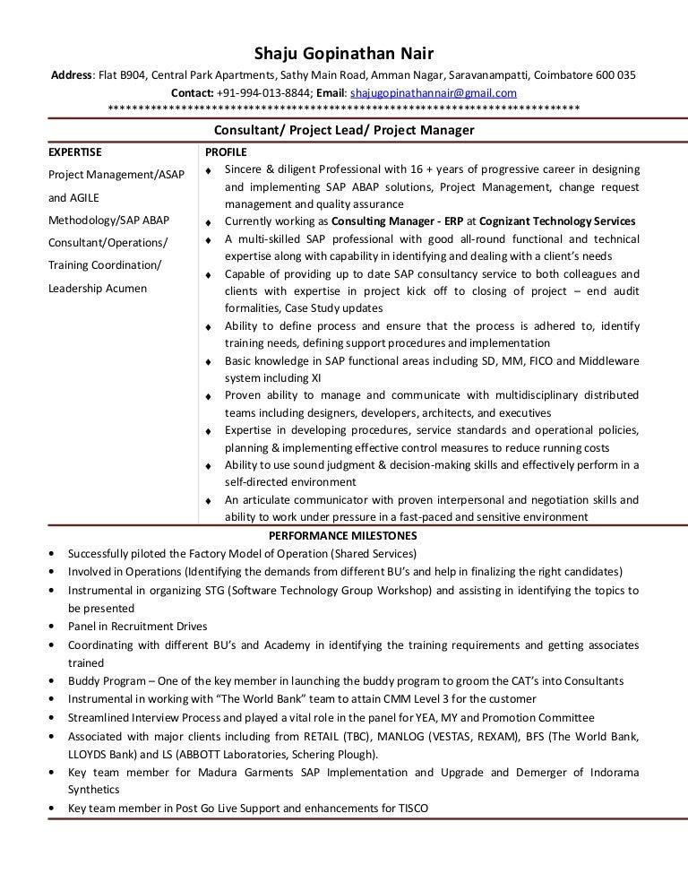resume shaju gopinathan nair consulting manager