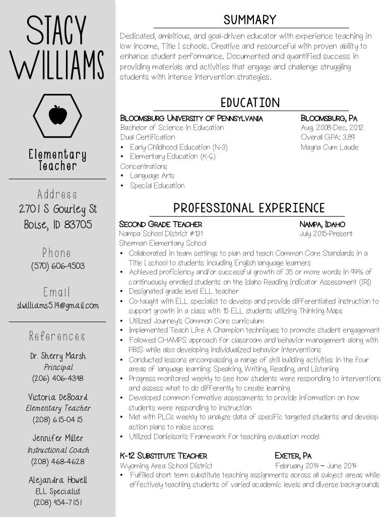teaching resume pdf