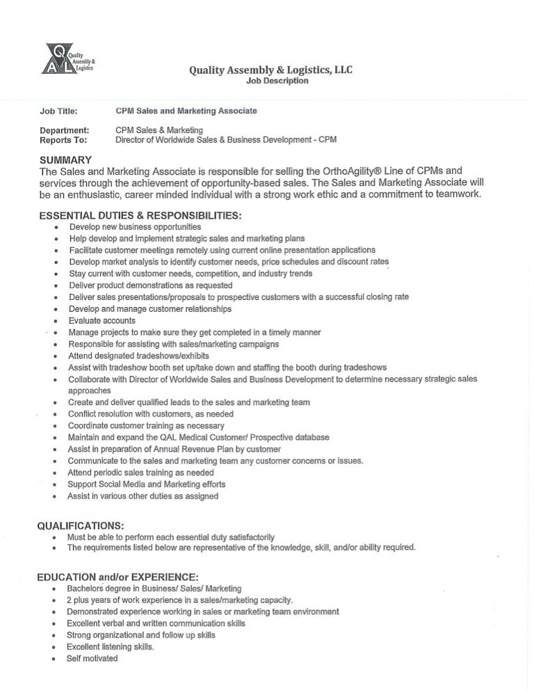 Resume Job Description For Retail Sales Associate Inside Template