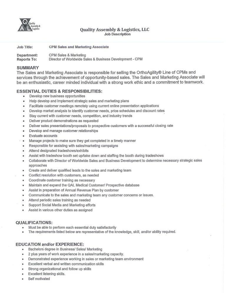 Resume Job Description For Retail Sales Associate Inside Template