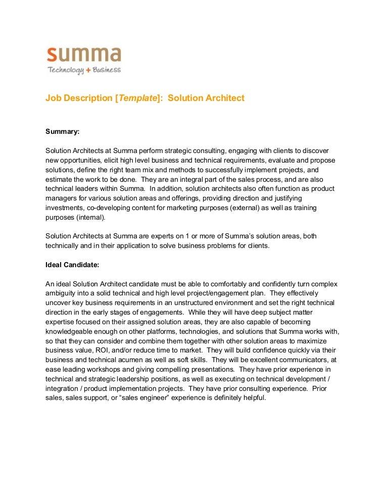 Job Description Template Solution Architect – Architect Job Description