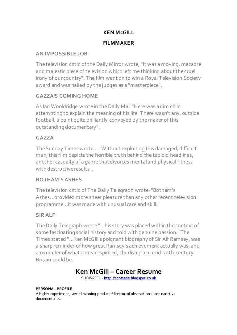 Ken McGill CV 2016