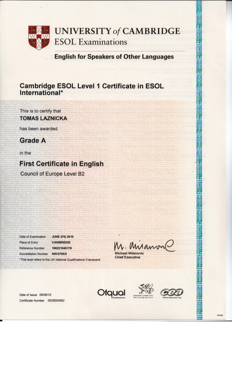 First Certificate In English Lower