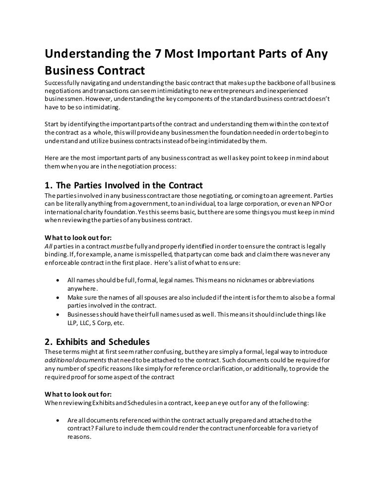 Understanding The 7 Most Important Parts Of Any Business Contract