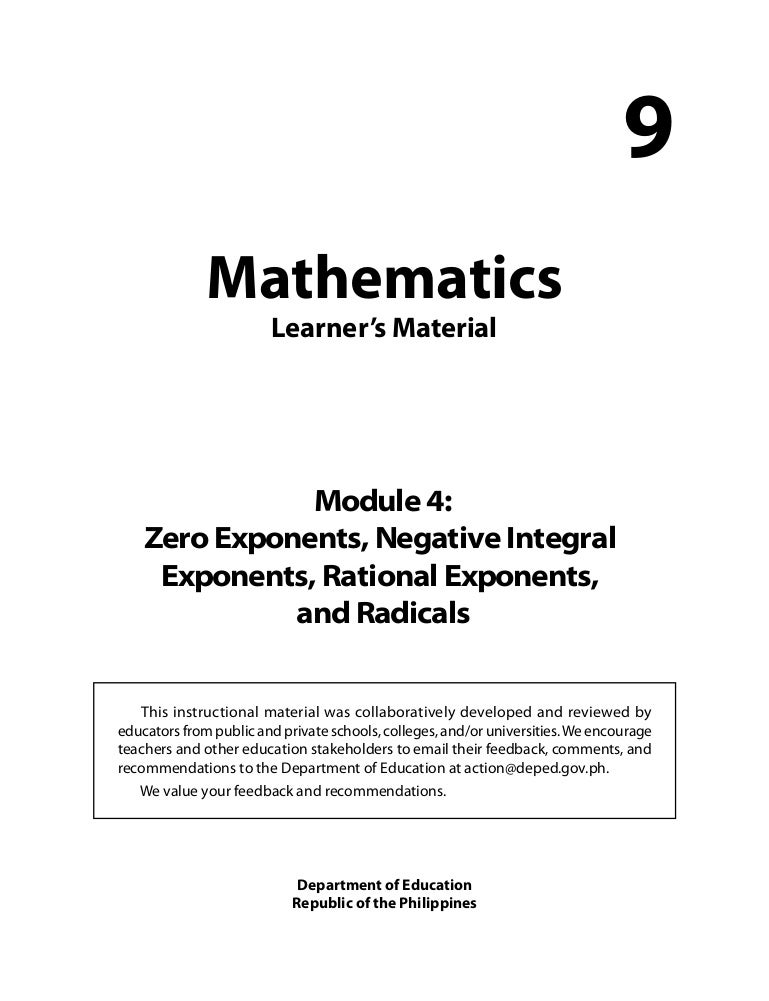 Grade 9: Mathematics Unit 4Zero Exponents, Negative Integral ...