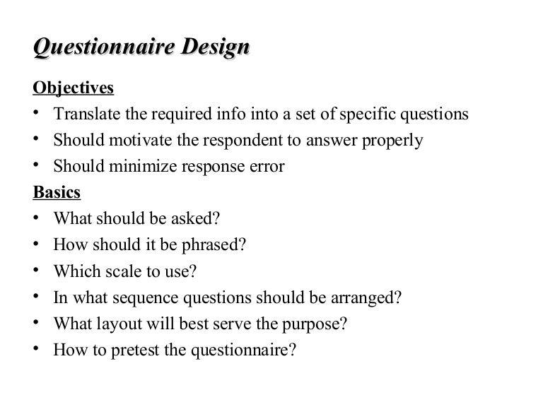9 questionnaire design