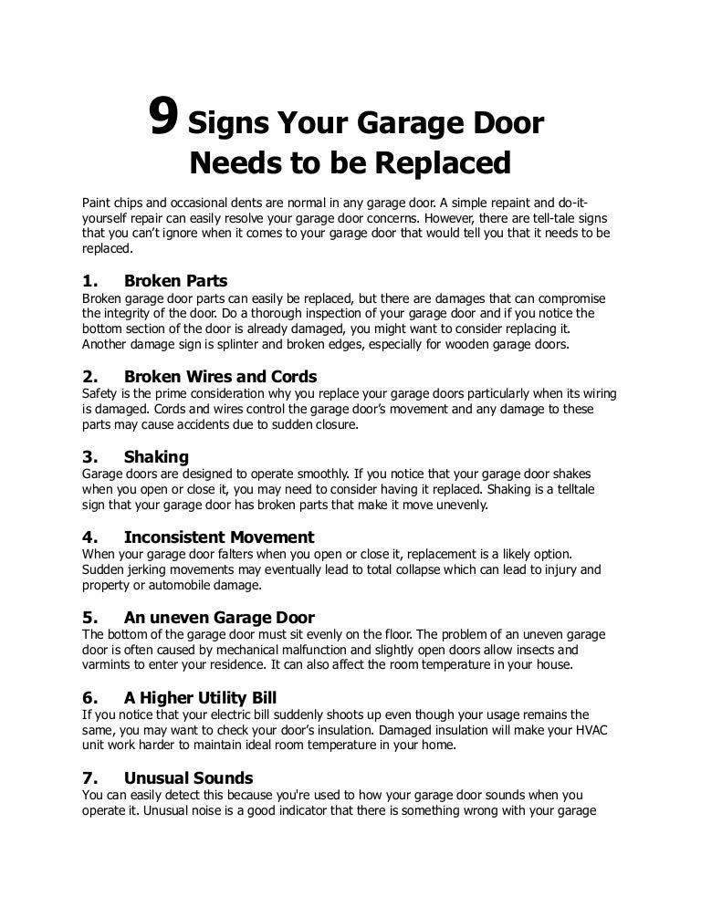 9 Signs Your Garage Door Needs To Be Replaced