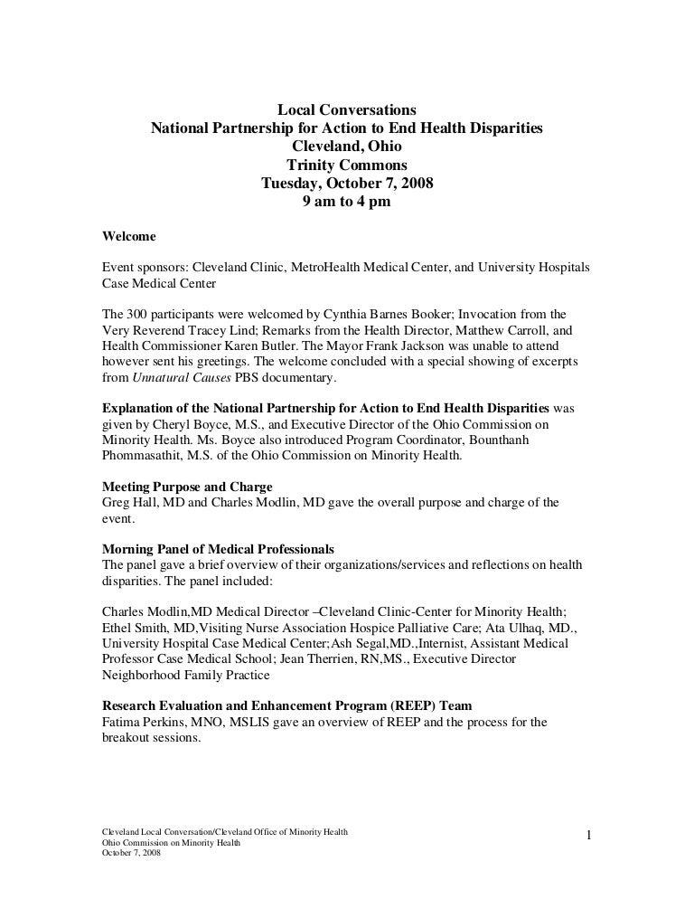 Cleveland Local Conversation on Health Disparities