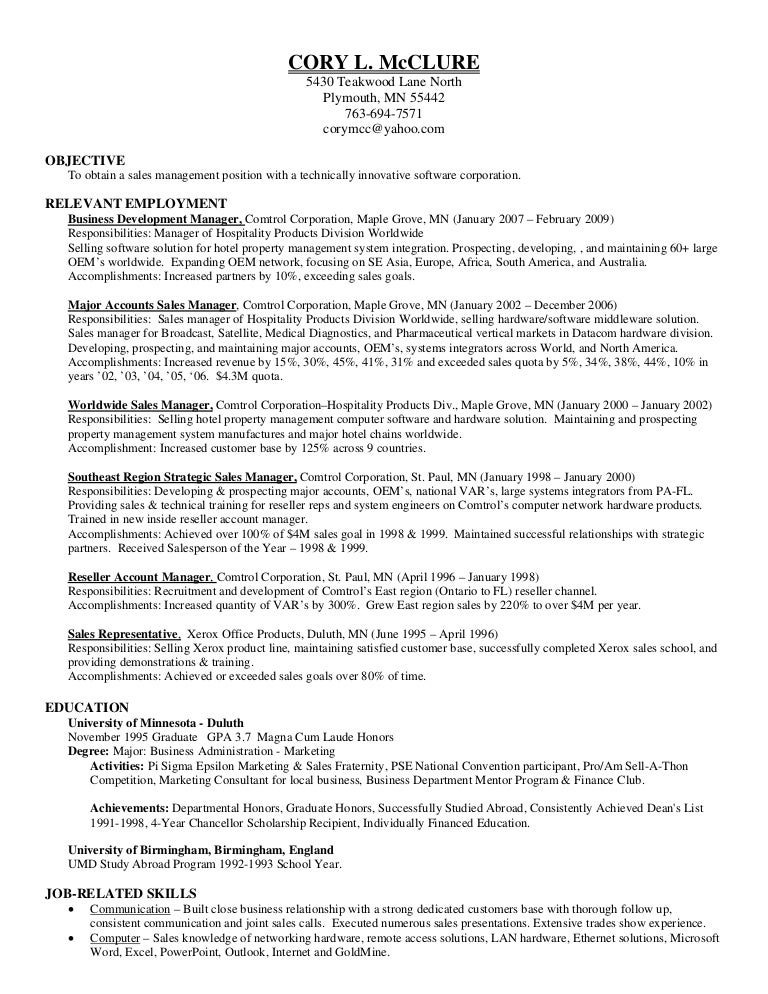 Cory Mc Clure Resume