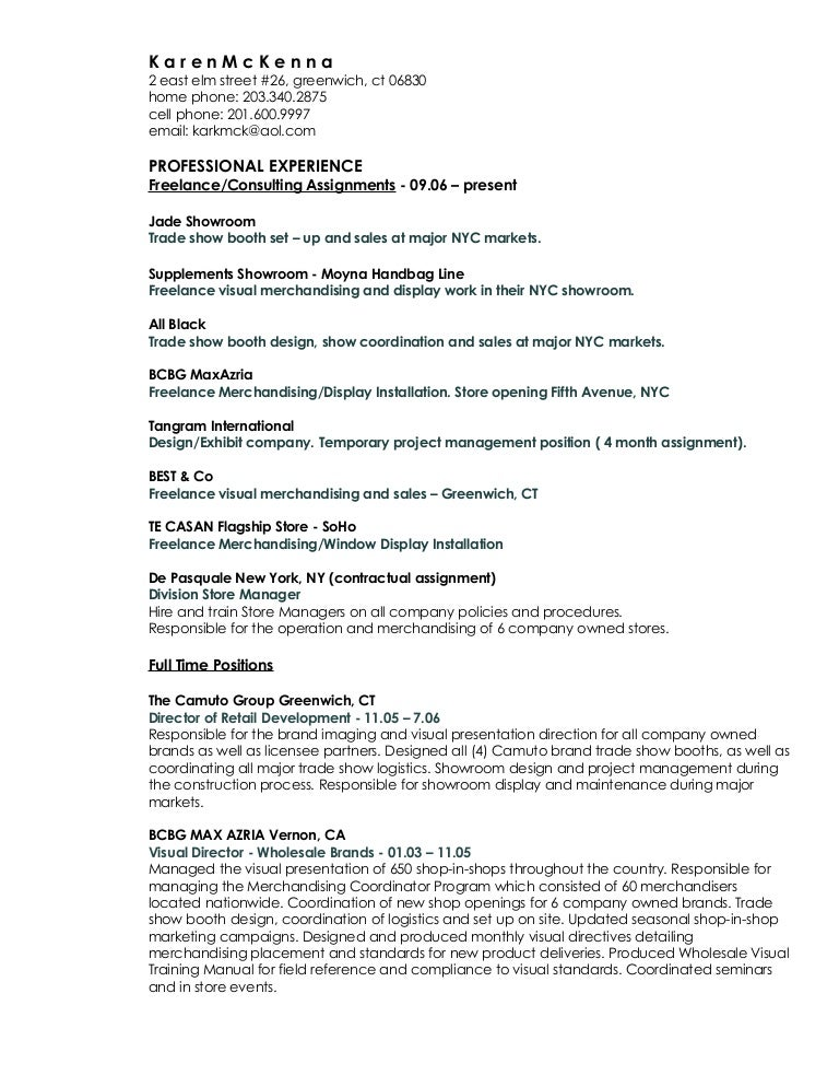 k a r e n m c k e n n a current resume - Visual Merchandiser Resume