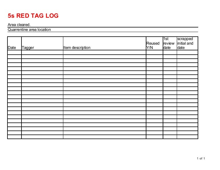 Red Tag Log 5s Template