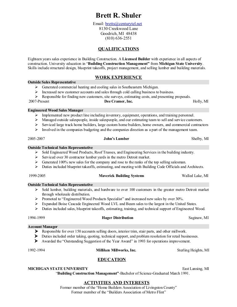 resume brett shuler construction