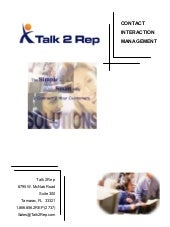 Talk2Rep Call Centers General Services Brochure 011206
