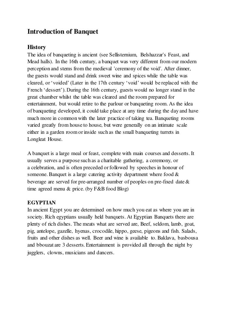 Banquets project report