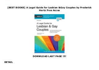 [BEST BOOKS] A Legal Guide for Lesbian & Gay Couples by Frederick Hertz Free Acces
