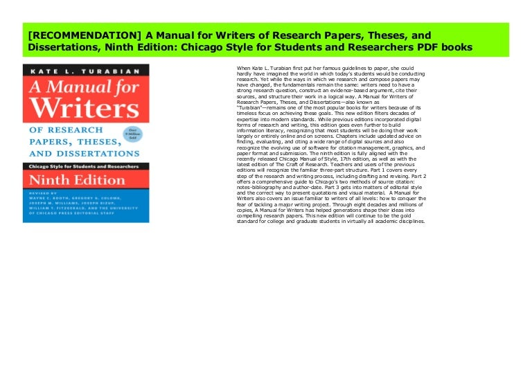 and Dissertations Theses A Manual for Writers of Research Papers ...
