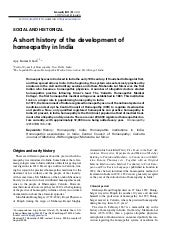 A short history of the development of homeopathy in India