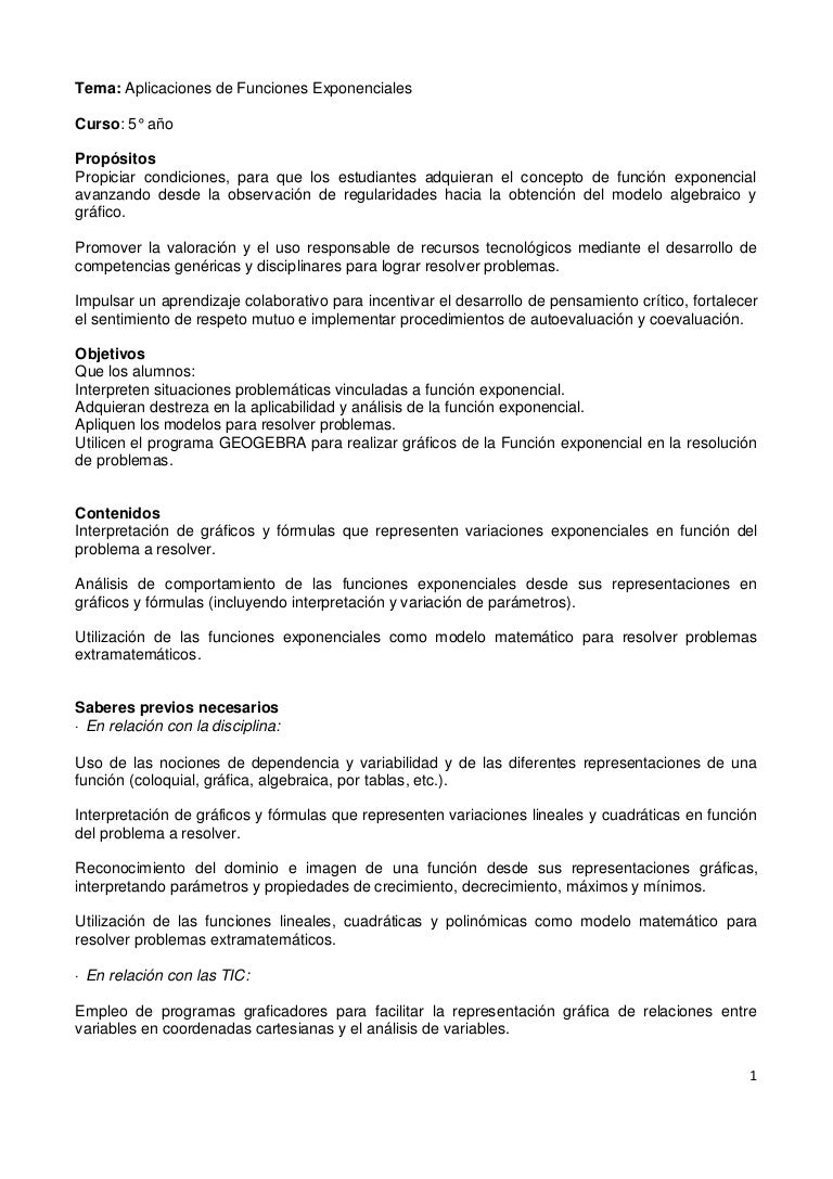 SECUENCIA DIDACTICA - FUNCIONES EXPONENCIALES