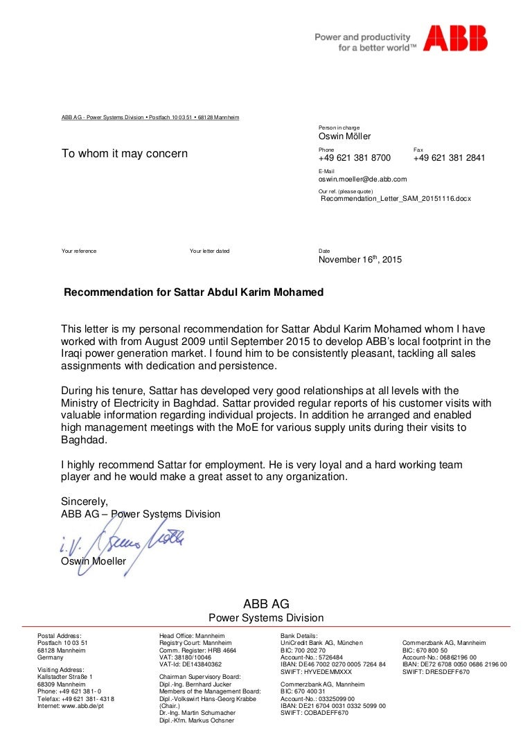 Recommendation Letter From Abb Germany For Period 2009 2015