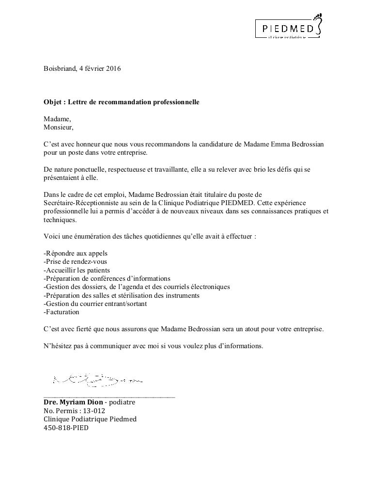 lettre de r u00e9f u00e9rence professionelle
