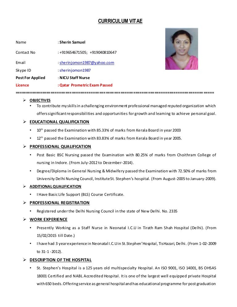 Curriculum Vitae Sample For Nurses Philippines  ApigramCom