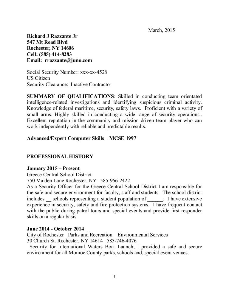 example federal resume