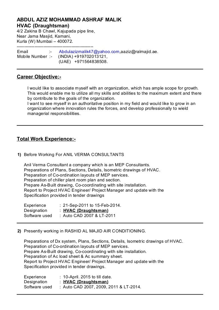 Resume For Job In Hvac Draughtsman Drawing