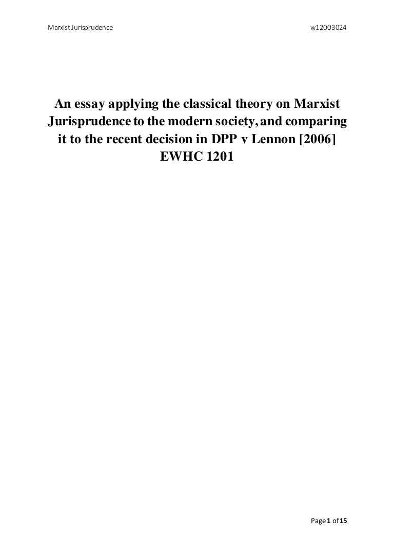 an essay applying the classical theory on marxist jurisprudence to th