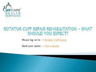 Rotator Cuff Repair Rehabilitation - What Should You Expect?