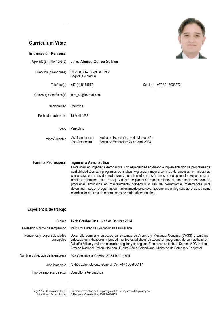 CV Jairo Ochoa 15 de Noviembre 2014