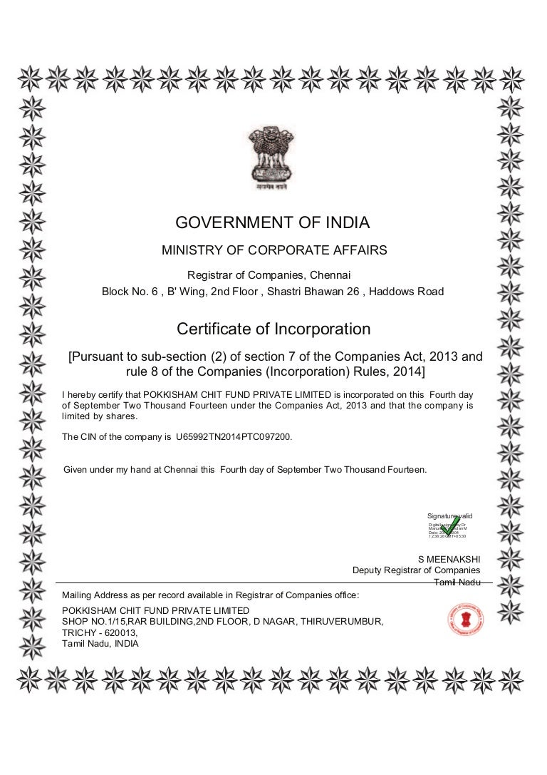 Certificate of incorporation xflitez Gallery