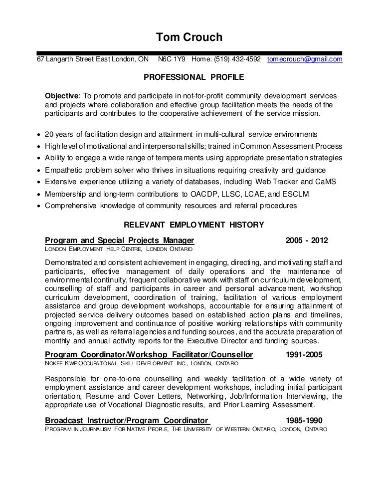 tom u0026 39 s facilitator resume prior to starting at goodwill in 2012