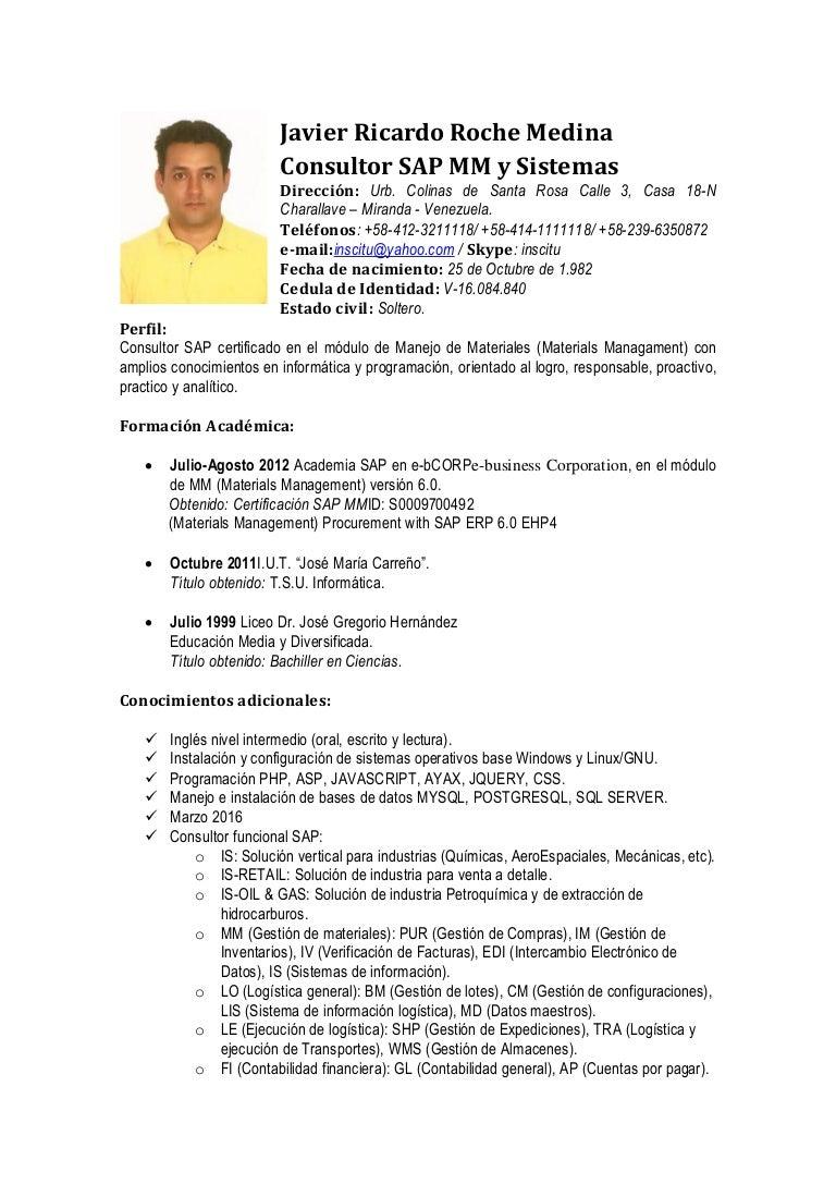 CV Javier Roche