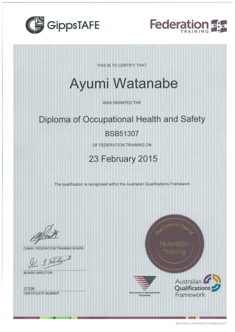 Diploma of occupational health and safety certificate 1betcityfo Gallery