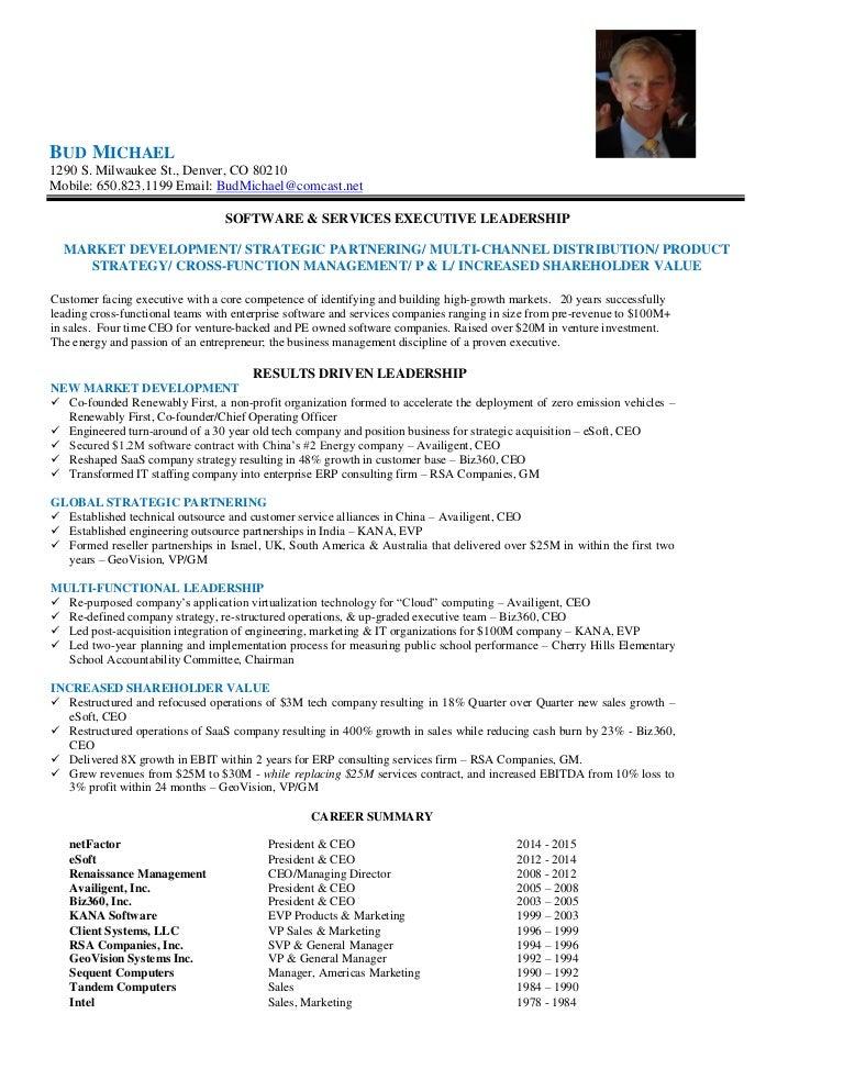 bud michael executive profile brief