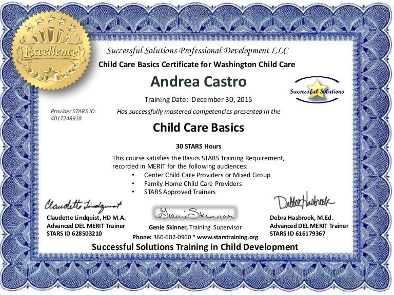 Andrea Castro Child Care Basics 30 Hour Certificate Of Excellence 12