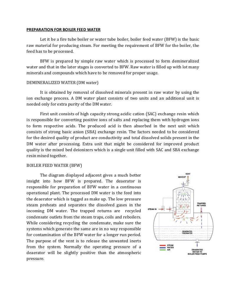 PREPARATION FOR BOILER FEED WATER PRODUCTION