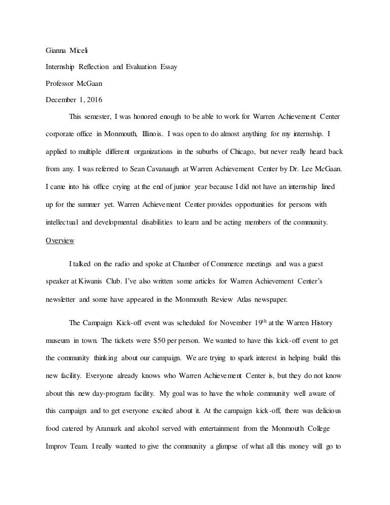 internship reflection