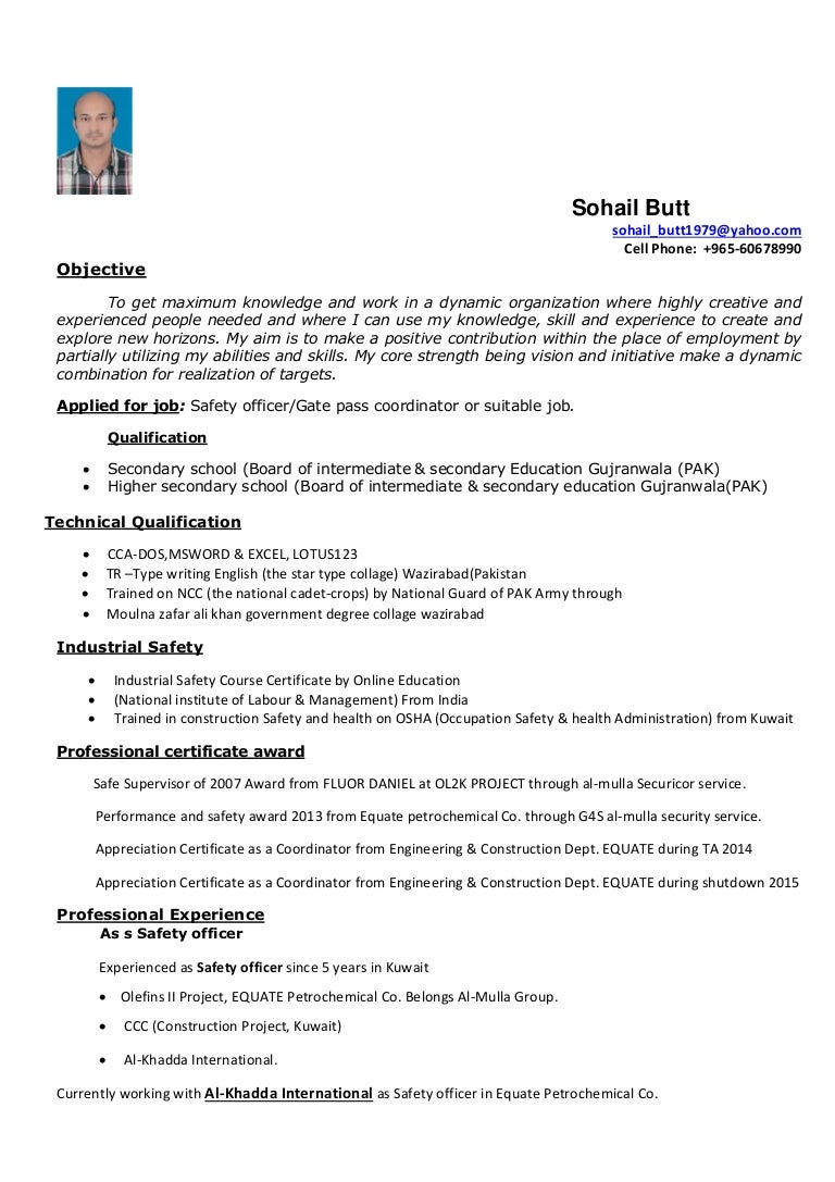 resume of sohail butt as safety officer