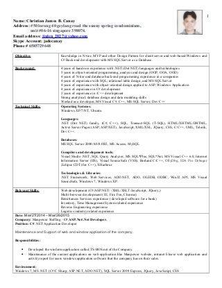 latest resume cc developer