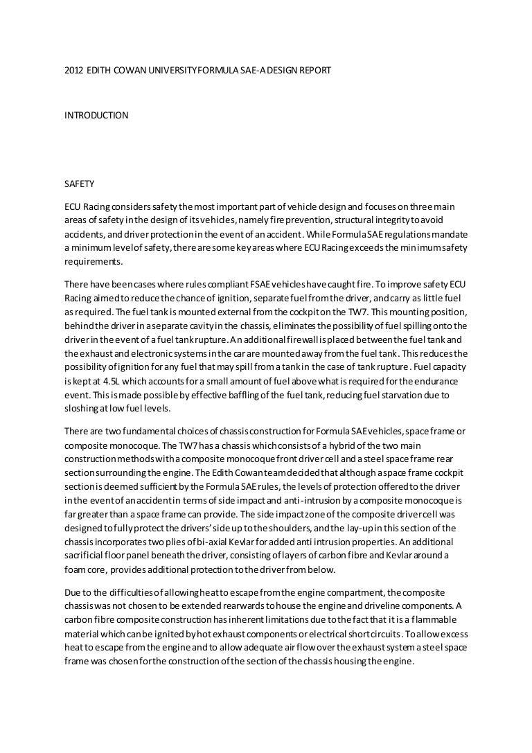 Edith Cowan University Formula Sae Design Report V