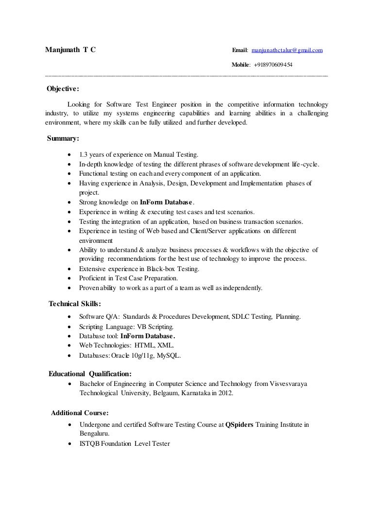 manjunath exp resume
