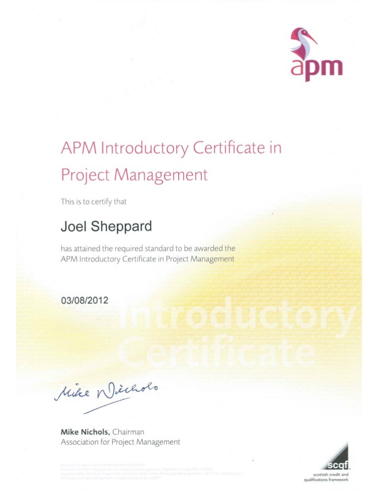 Apm Introductory Certificate In Project Management 030812