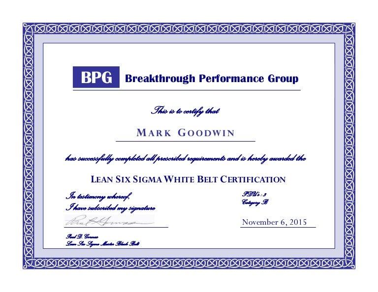 Lean Six Sigma White Belt Certification